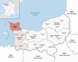 Arrondissement of Cherbourg - Image: Locator map of Arrondissement Cherbourg 2017