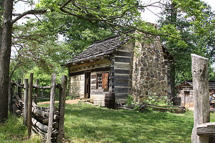 The farm site where Lincoln grew up in Spencer County, Indiana Log Cabin at the Lincoln Living Historical Farm.jpg