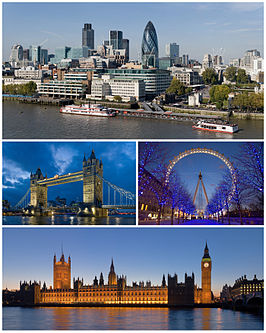 Boven: Skyline van City of London, Midden links: Tower Bridge, Midden rechts: London Eye, Onder: Palace of Westminster.