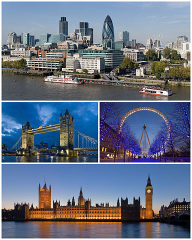Photo montage of London buildings