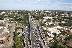 WestConnex - The M4 Western Motorway outside of Parramatta. This section has been widened as part of the WestConnex scheme.