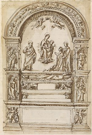 Cybo Chapel (Santa Maria del Popolo) - The original tomb of Lorenzo Cybo which was later dismantled (17th century drawing)