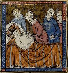 Miniature représentant Louis IX alité, entouré d'un évêque et de trois personnages.