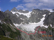 "A dark mountain range showing the end of a glacier. There is a timestamp in orange: ""08.07.2003"". A red line well below the end of the glacier is marked ""1985""."