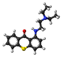 Ball-and-stick model of the lucanthone molecule
