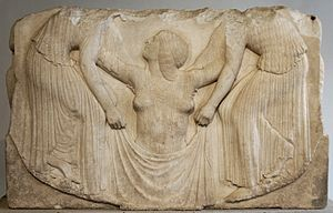 "Ludovisi Throne - Main panel: ""Aphrodite rising from the sea""."