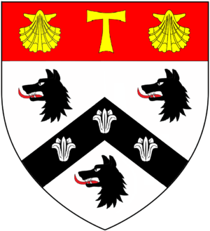 Roger Lupton - Arms of Roger Lupton: Argent, on a cheveron between three wolves' heads erased sable three lilies argent, on a chief gules a Tau cross between two escallops or