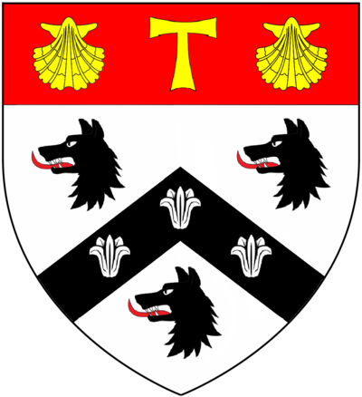 "Arms of Dr. Roger Lupton (d. 1540): ""Argent, on a chevron sable between three wolf's heads and necks erased sable three lilies of the field on a chief gules a Tau cross between two escallops or"". Arms granted by Henry VII[9]"