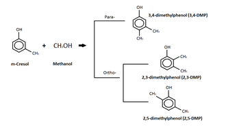 Creosote - Image: M cresol reaction with methanol