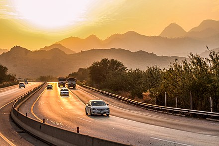 The motorway passes through the Salt Range mountains M2-Motorway.jpg