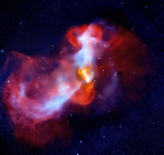 Messier 87 - In this Chandra X-ray Observatory image, cold matter from the Virgo cluster falls toward the core of M87, where it is met by the relativistic jet, producing shock waves in the galaxy's interstellar medium.