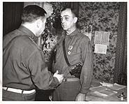 MG Hobbs presents the Legion Of Merit to BG Lewis