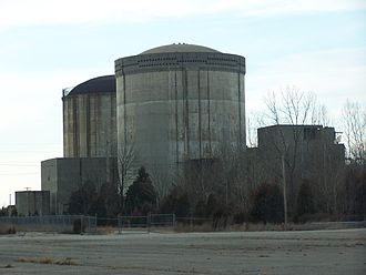 Marble Hill Nuclear Power Plant - A 2007 view of the reactor complex. Notice that the turbine building behind the containment buildings has been demolished.