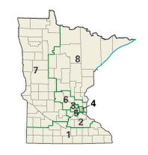 Politics of Minnesota - Map of Minnesota showing all eight congressional districts