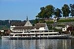 MS 'Helvetia' in Rapperswil, Ansicht vom Seedamm, im Hintergrund der Lindenhof und das Kapuzinerkloster 2012-10-05 15-30-44.JPG