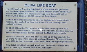 MS Oliva - Plaque in front of the lifeboat for MS Olivia which is now located adjacent to the former Cape Jaffa lighthouse in Kingston SE, South Australia.
