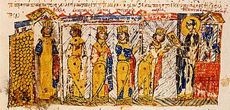 Theoktiste - The daughters of Theodora being instructed in the veneration of the icons by their grandmother Theoktiste. Miniature from the Madrid Skylitzes.