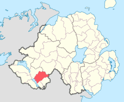 Location of Magherastephana, County Fermanagh, Northern Ireland.