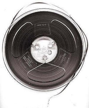 Magnetic tape - 7-inch reel of ¼-inch-wide audio recording tape, typical of consumer use in the 1950s–70s