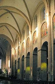 Mainz Cathedral, Germany, has possibly the earliest example of an internal elevation of 3 stages.