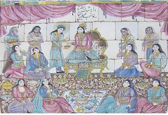 Joseph in Islam - Joseph in Zuleikha's party. Painting in Takieh Moaven ol molk, Kermanshah, Iran.