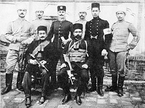 Yeprem Khan - Yeprem Khan (front row, right) with Sardar-e Baradur and Major Haase in Tehran, 1911