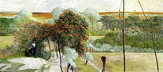Landscape with rowan trees.