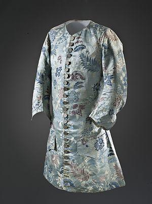 Lampas - Image: Man's silk waistcoat with sleeves c 1715