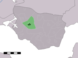 The town centre (dark green) and the statistical district (light green) of 's-Heerenhoek in the municipality of Borsele.