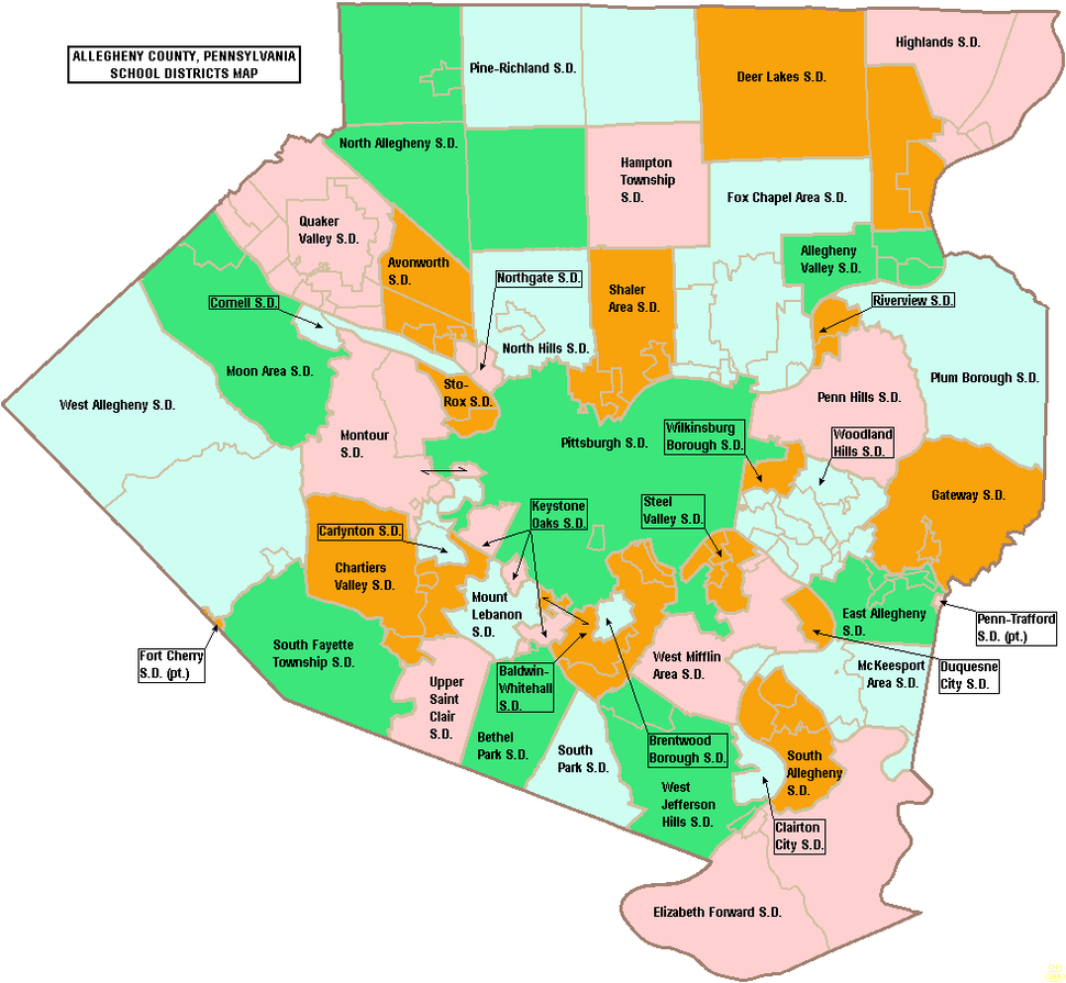 Map of Allegheny County Pennsylvania School Districts