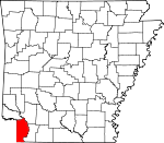 Map of Arkansas highlighting Miller County.svg
