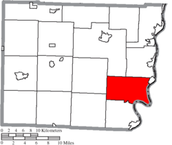Location of Mead Township in Belmont County