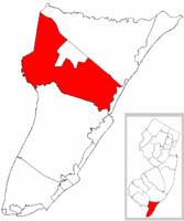 Dennis Township highlighted in Cape May County. Inset map: Cape May County highlighted in the State of New Jersey.