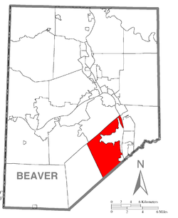 Map of Beaver County, Pennsylvania highlighting Hopewell Township