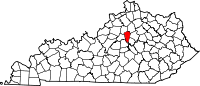Map of Kentucky highlighting Woodford County