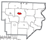 Map of Monroe County Ohio Highlighting Woodsfield Village.png