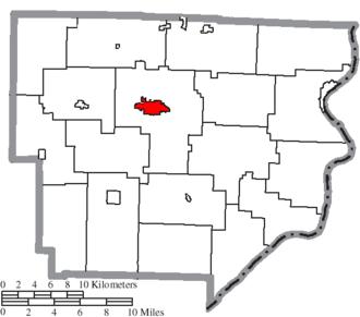 Woodsfield, Ohio - Image: Map of Monroe County Ohio Highlighting Woodsfield Village