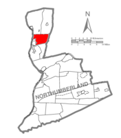 Map of Northumberland County, Pennsylvania highlighting Turbot Township