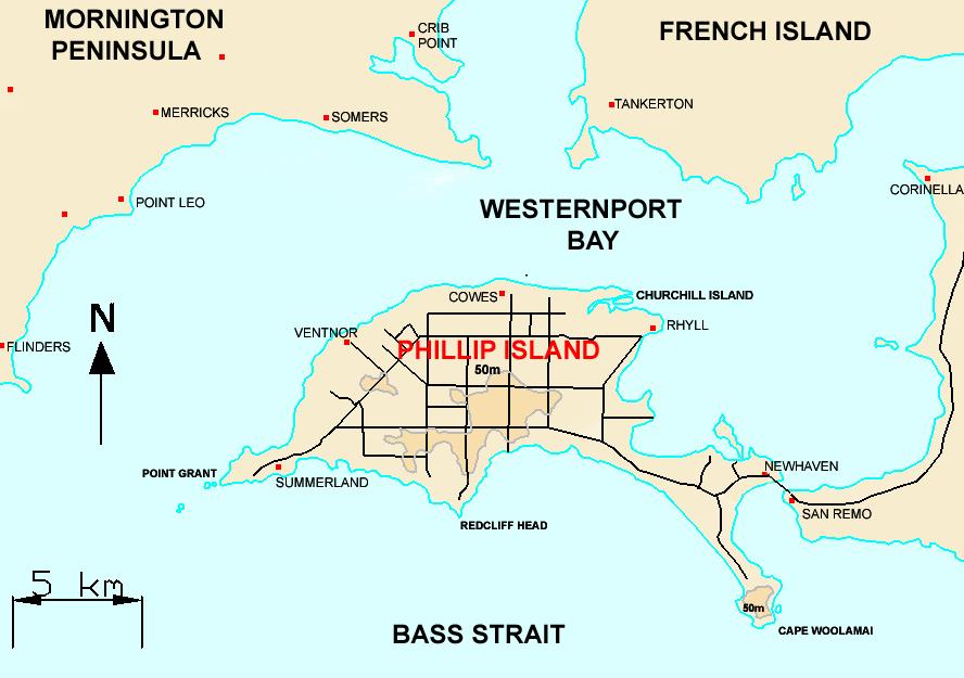 Map of Phillip Island, Victoria