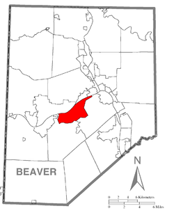 Map of Beaver County, Pennsylvania highlighting Potter Township