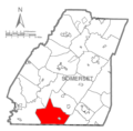 Map of Somerset County, Pennsylvania highlighting Elk Lick Township.PNG