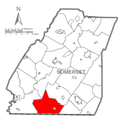 Map of Somerset County, Pennsylvania Highlighting Elk Lick Township