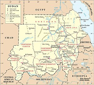 Nuba Mountains - Map of Sudan (after 2011). The Nuba Mountains are labeled in Southern Kordofan
