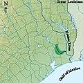 Map of the Pine Island Bayou drainage basin in southeast Texas.jpg