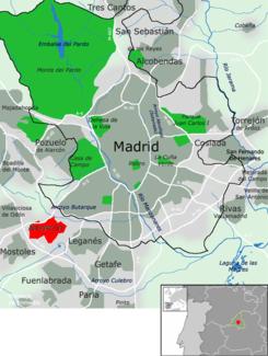 Ubicación de Alcorcón dentro del área metropolitana de Madrid.