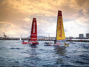 Volvo Ocean 65 - The Volvo Ocean 65 Mapfre and Azzam at the start of the 2014-15 Volvo Ocean Race in Alicante in October 2014