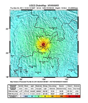 2011 Myanmar earthquake - USGS ShakeMap for the event