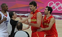 Marc Gasol argues with referee, 2012 Olympics.jpg