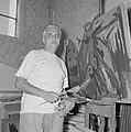 Marcel Janco, dada kunstenaar en burgemeester, in zijn atelier in het door hem g, Bestanddeelnr 255-2756.jpg