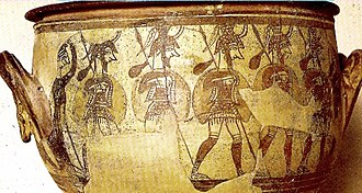 Mycenaean Greece - Marching soldiers observed by a female figure, in a krater of c. 1200 BC in Mycenae